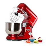 Klarstein TK1 Bella Rossa - Robot de Cocina, Batidora, Amasadora, 1200 W, 5,2 litros, 1,6 PS, Batido planetario, 6 Niveles, Recipiente Acero INOX, Varillas Metal, Rojo
