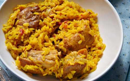 como preparar arroz con cerdo
